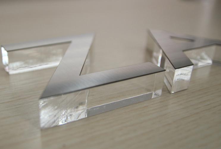 长沙广告 水晶字制作 拉丝不锈钢面水晶字